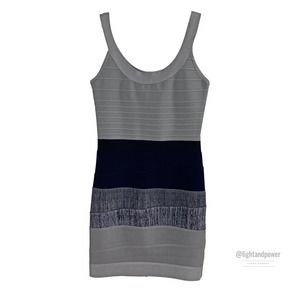 Herve Leger Gray Blue Bandage Dress M WITH FAULTS